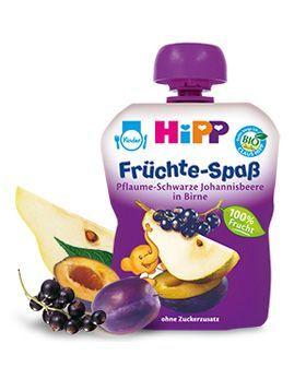 HIPP Бебешка Плодова закуска круши, сливи и касис 6м+ 90 гр.